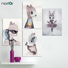 Nordic Decoration Girl Wall Art Canvas Painting Rabbit Posters And Prints Nursery Pictures Cuadros No Frame
