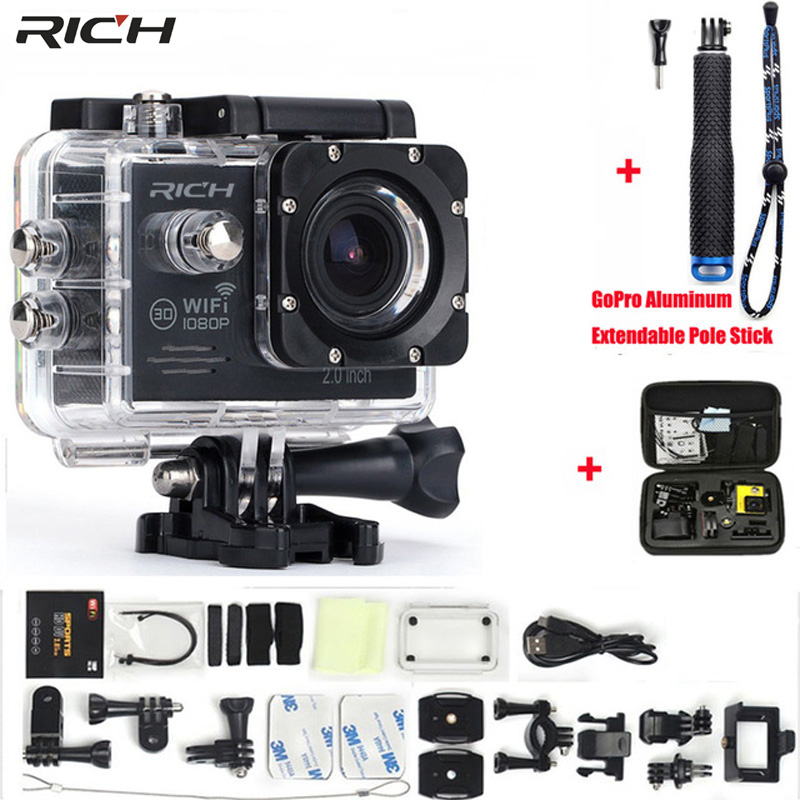 Action Camera 2 0 inch Wifi 1080P 170 Degree Lens Go pro Style Waterproof 30M Sport
