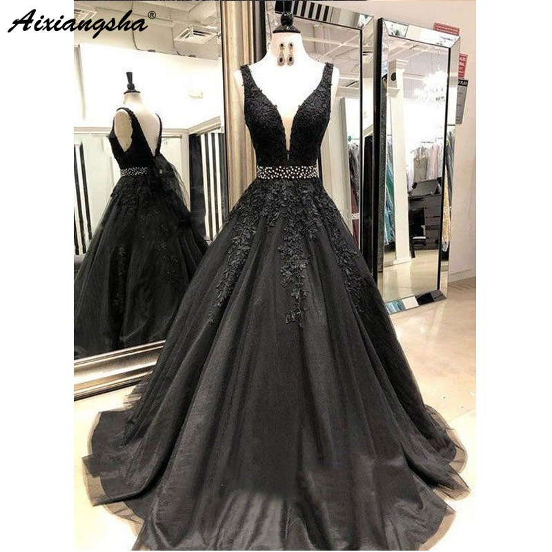 Black Long   Prom     Dresses   with Beading V-Neck Ball Gown Tulle Appliques Lace Saudi Arabic Evening   Dress   Gown abiye gece elbisesi