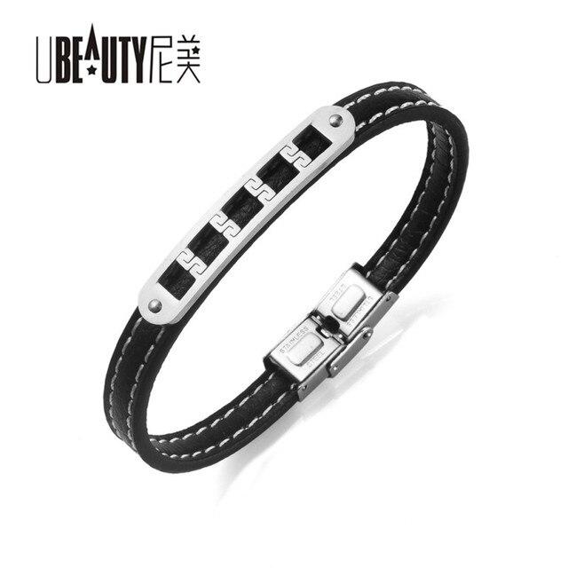 Ubeauty Stainless Steel 2017 New 22cm Long Black Leather Bracelet Women Charm Men Jewelry