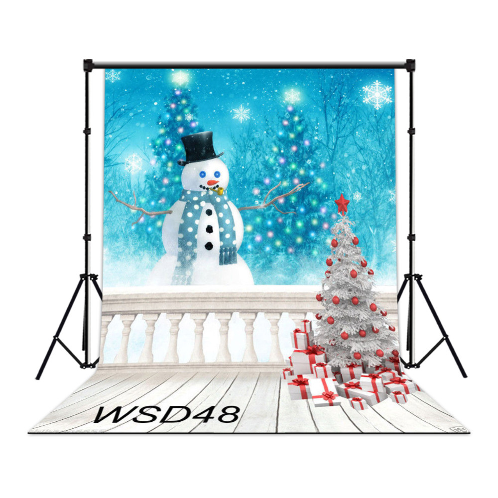 LB Polyester & Vinyl Backgrounds For Photo Studio Photography Backdrops Fairytale Balcony White  Christmas Tree Gifts Snowman