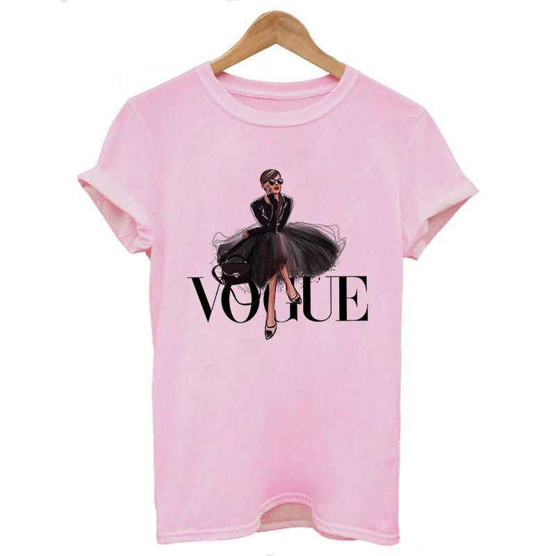 Nowości moda VOGUE drukowane T shirt kobiety Harajuku Trend Style koszulki z okrągłym dekoltem lato z krótkim rękawem koszulka na co dzień topy 2