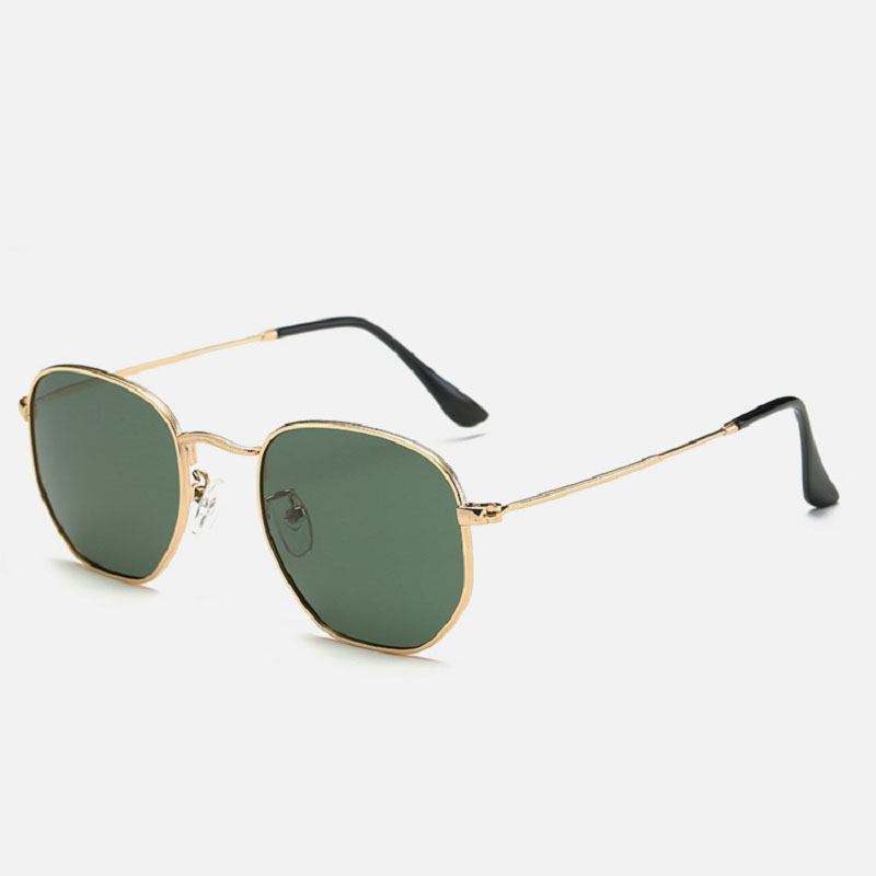 e139d9633b97e Moda Polígono Moldura Redonda de Metal Estilo Clássico Marca de Design dos  óculos de Sol Do Vintage Óculos de Sol Retro Unisex Das Mulheres Dos Homens  ...