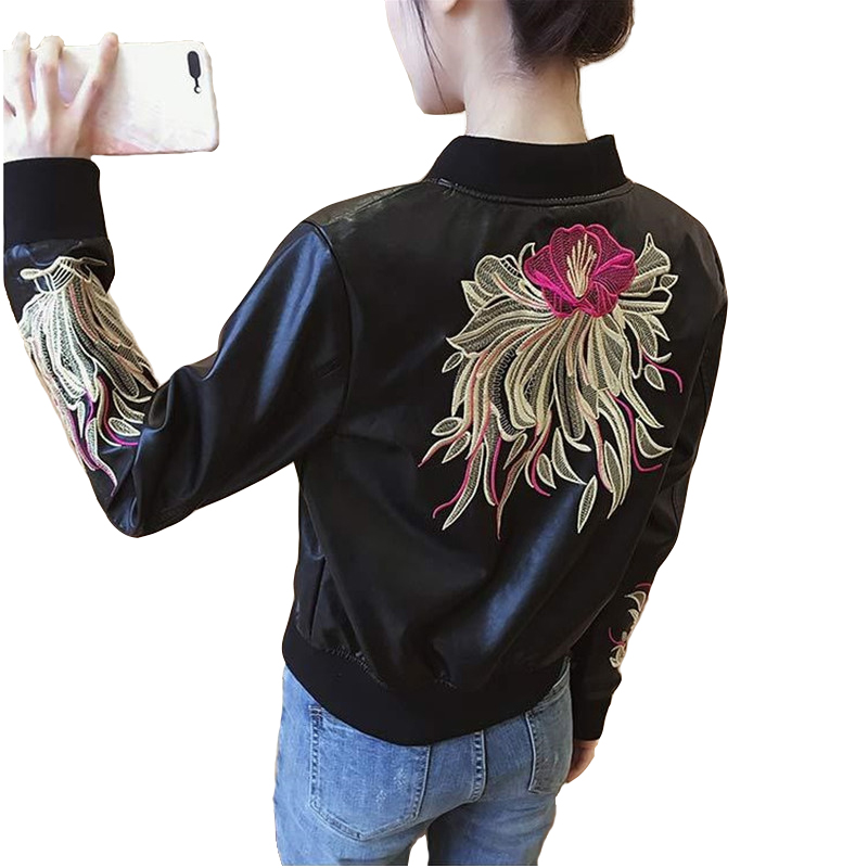 Short Jacket Women 2018 New PU   leather   Jackets Spring Autumn Fashion Embroidery Motorcycle   Leather   Jackets Female Casual Tops