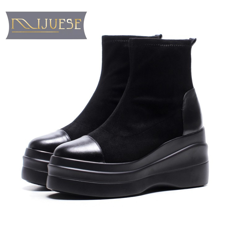 MLJUESE 2018 women ankle boots cow leather black color slip on high heels autumn spring ankle boots female boots martin boots bisi goro high heel boots women black beige pink platform female boots leather spring autumn shores boots heels ankle boots 2017