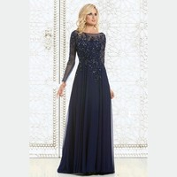 2015 Elegant Long Sleeve Navy Blue Evening Dress Mother Of The Bride Dresses Beaded Chiffon Cheap