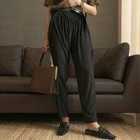 ZHEJIAN Pleat независимый дизайнер бренд летние брюки Вязание эластичные Разделение конвейерная лента брюки