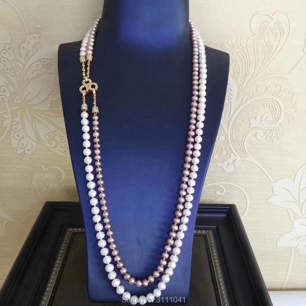2rows freshwater pearl near round  white puprle 26-28inch FPPJ wholesale beads nature  colors pendant 2rows freshwater pearl near round  white puprle 26-28inch FPPJ wholesale beads nature  colors pendant