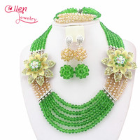 2017 newest Florid yellow and golden Nigerian Wedding Bride Jewelry Set Gift Costume Jewelry set african beads jewelry set N0056