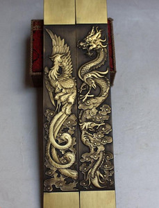 Image 4 - Chinese Rare Collections Great dragon and phoenix statue Copper paper weight