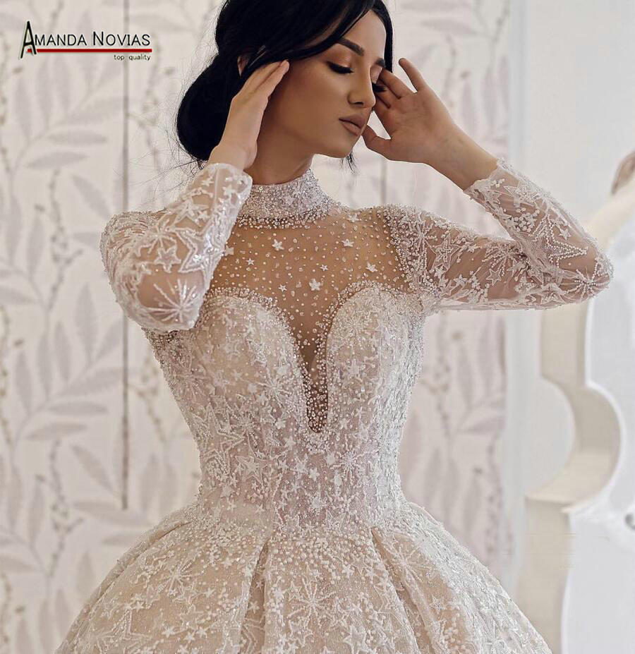 Image 2 - Amanda Novias brand wedding dress long sleeves  bride dress 2019Wedding Dresses   -
