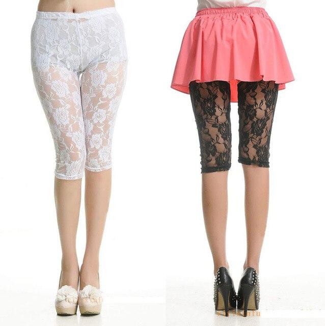 Women Fashion Crochet Lace Shorts Plus Size Leggings Sexy Rose