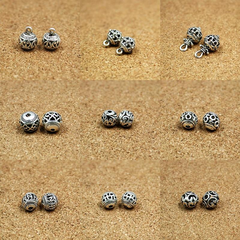 10 Stücke Antike Silber Zink-legierung Hohl Perle Runde Perlen Charms Anhänger Für Schmuck Machen Halskette Armband Diy Schmuck Erkenntnisse So Effektiv Wie Eine Fee