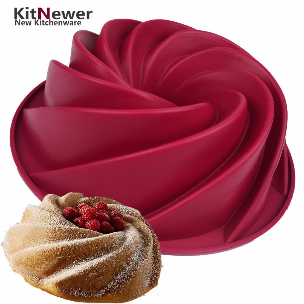 WALFOS siliconen cakevorm pan 24.5 * 8.9 cm Grote Swirl Vorm Siliconen Boter Cakevorm Keuken Bakken Tools Voor Cake bakvormen Schimmel