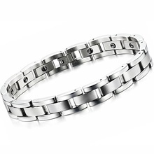 Fashion Health Care Men Jewelry Stainless Steel with Magnet Stone Chain & Link Bracelets Classical Energy Balance GS8012
