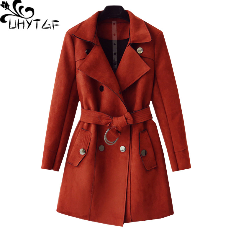 UHYTGF Casual long coat women Luxury deerskin suede Spring autumn   trench   coat Belt Double-breasted slim women outerwear tide 544