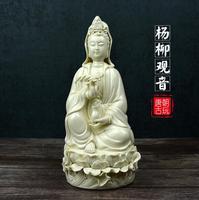 26CM Chinese Dehua White Porcelain Sacred Guan Yin Kwan yin Vase Goddess Statue