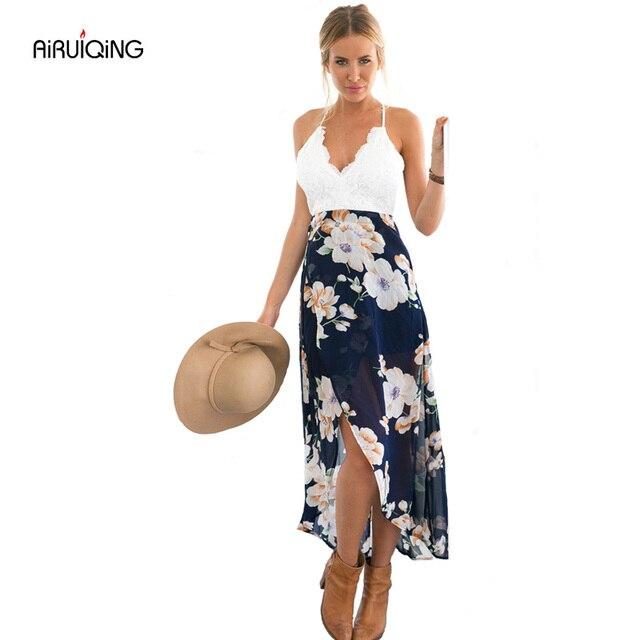 2018 Новый сексуальный печати кружевное летнее платье на Глубокий V шеи высокая Талия пляжные платья женские разрез спинки длинное платье