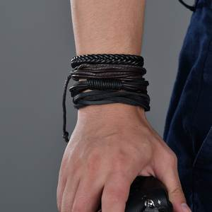 Vintage Handmade Feather Multilayer Leather Bracelet Sets Men Fashion Braiding Coffee Rope Wrap Bracelets & Bangles Male Gift