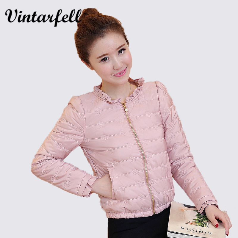 2017 Spring Autumn Basic Jacket Women Ruffled Collar Full Sleeve Slim Coats Female Solid Pockets Zippers Cotton Overcoat Femme