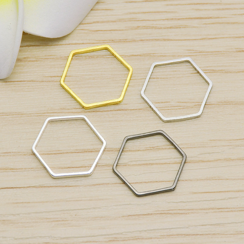 50pcs Lot 12mm Gold Silver Closed Hexagon Hollow Charms