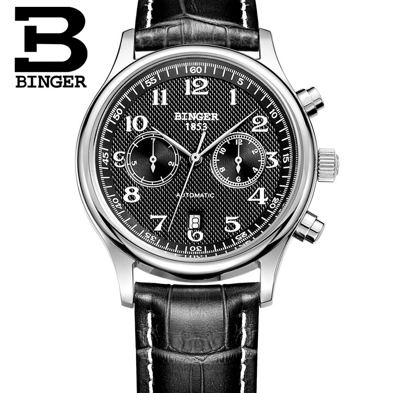 Authentic Switzerland BINGER Brand Men fashion watch automatic mechanical self-wind male table leather strap sapphire calendarAuthentic Switzerland BINGER Brand Men fashion watch automatic mechanical self-wind male table leather strap sapphire calendar