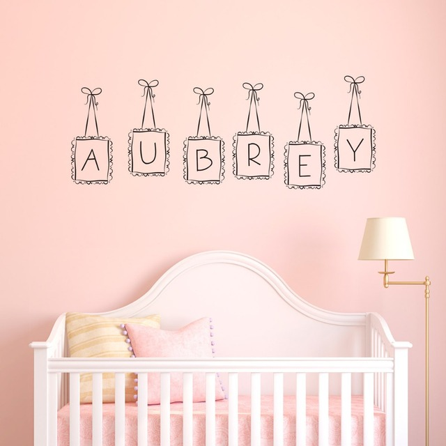 Hanging Frames Custom Dooble Letter Kids NAMe Wall Mural Special Nursery  Bedroom Decorative Vinyl Wall Decals