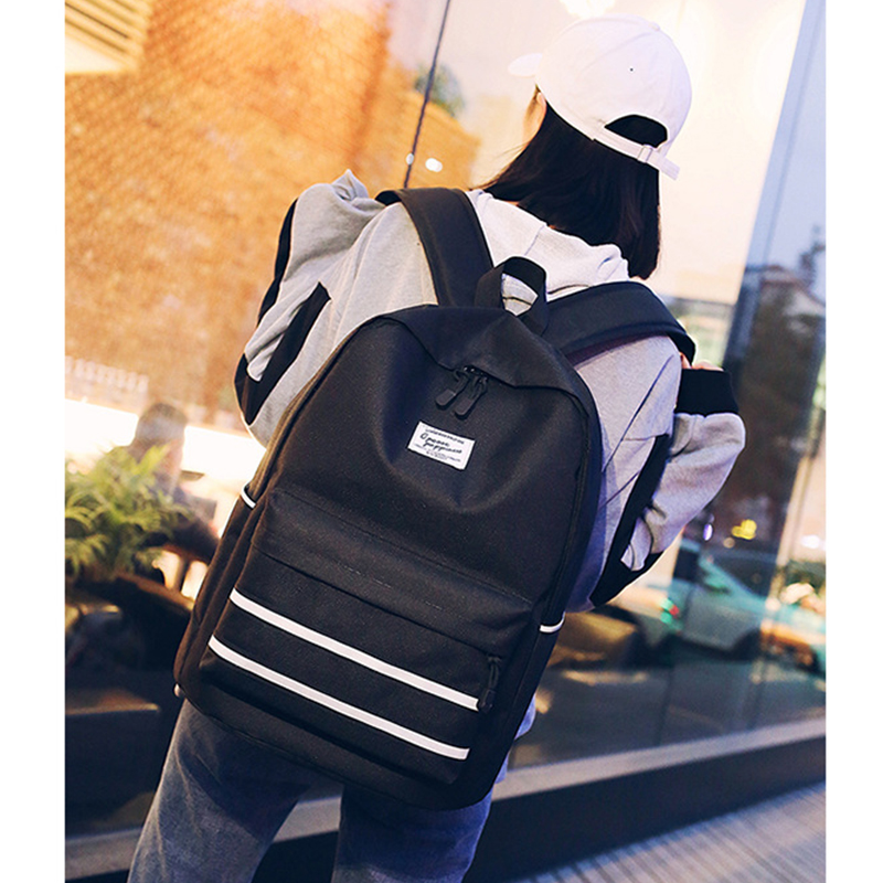 Large Girls School Bags For Teenagers Backpacks Women Black Nylon Solid College Teen Student Middle High School Bookbags Big New