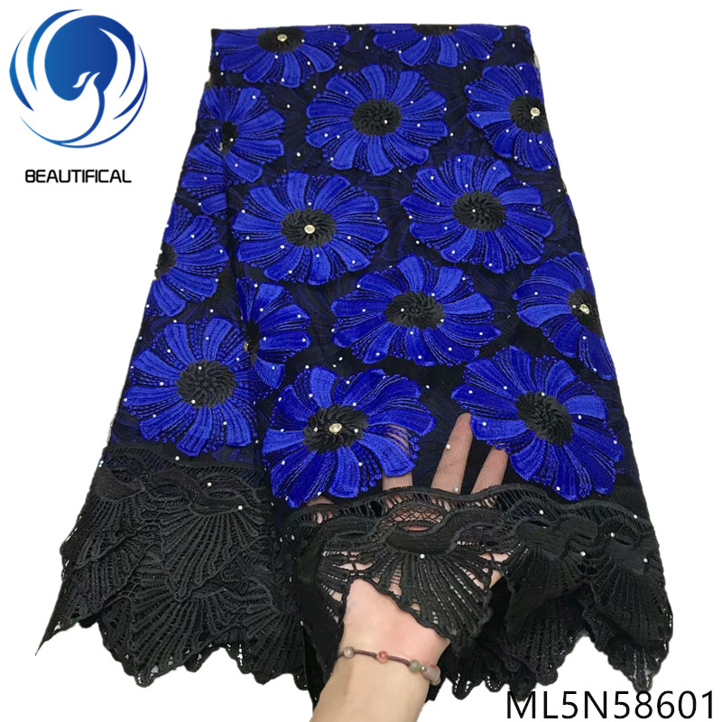 Beautifical Black french lace with blue embroidery flowers 2019 New nigerian lace fabrics with beads stones