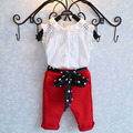 NEW 2016 Summer 50 Casual fashion Girl lace white blouses+ Red 7 minutes of pants clothing set kids clothes sets