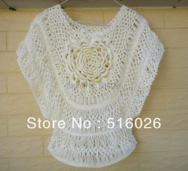 Hairpin Crochet Lace Blouse Summer Floral Beach Cover Up Batwing