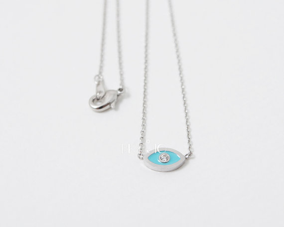 Trendy women choker necklace Evil Eye pendant Necklace Gold and Silver plated fashion christmas beautiful gift