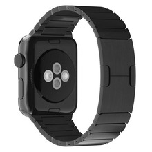 Stainless Steel Chain Shaped Watchband Original Buckle Clasp For Apple Watch iwatch bands Black With Connector