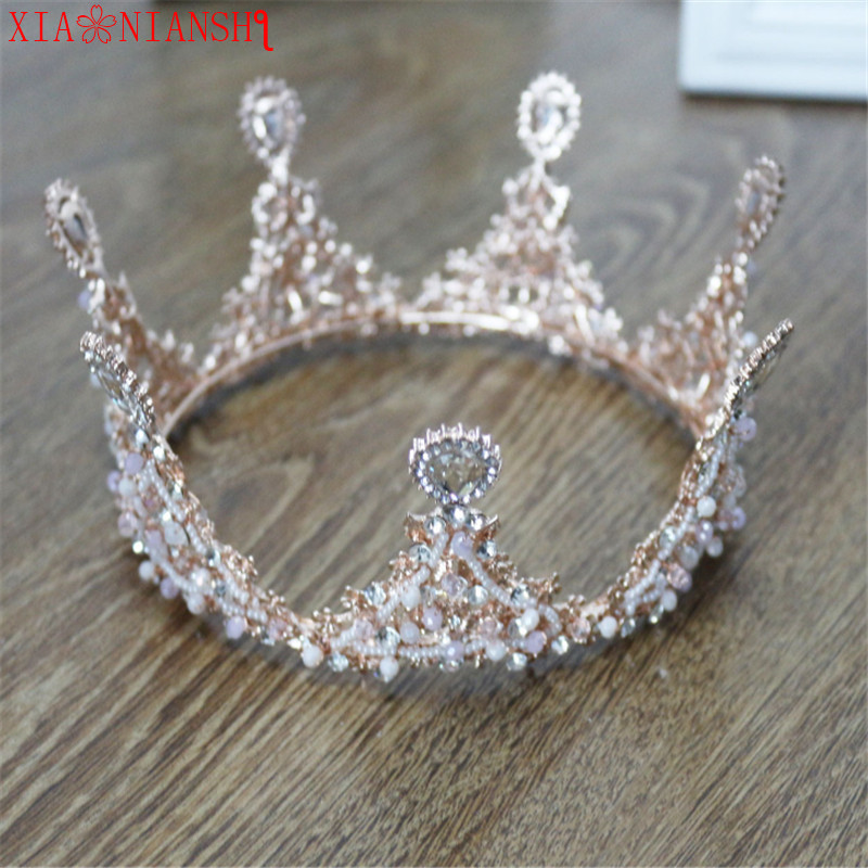 XIAONIANSHI Baroque Luxury Pearl Crystal Gold Crown Bridal Wedding Jewelry Rhinestone Tiaras Crowns Pageant Hair Accessories new hot pink freshwater pearl crystal handmade clear rhinestone beaded wedding accessories hair crown tiaras golden jewelry