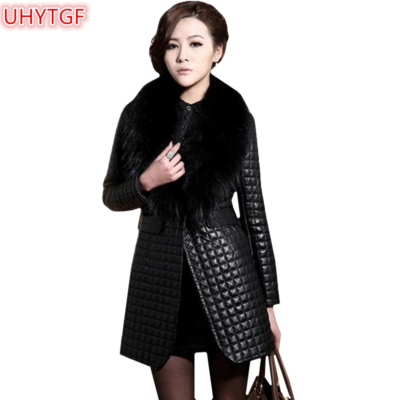 UHYTGF Winter Coat Women 2021 Faux Leather Jacket Women Clothing Warm Top Fur collar Coat Fashion Ladies Black Leather Jacket110