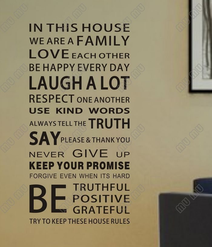 ... NEW HOT In This House We Are A Family Wall Letter Stickers Quotes And  Sayings Home ...
