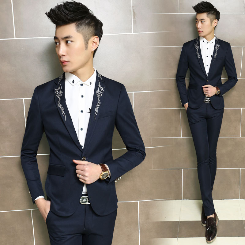 2015 Embroidery Male Suits Fashion Skinny Men's Single Breasted ...
