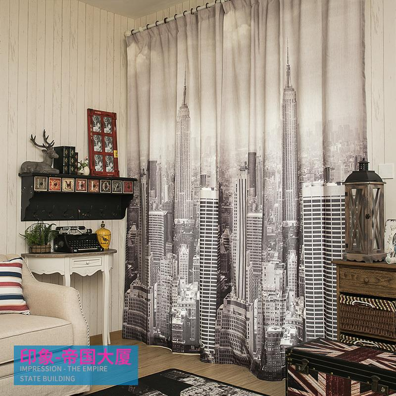 Modern Curtains City Style Iron Tower Empire State Building Linen Curtains  For Bedroom Curtains Cartoon Window Blackout Curtains In Curtains From Home  ...