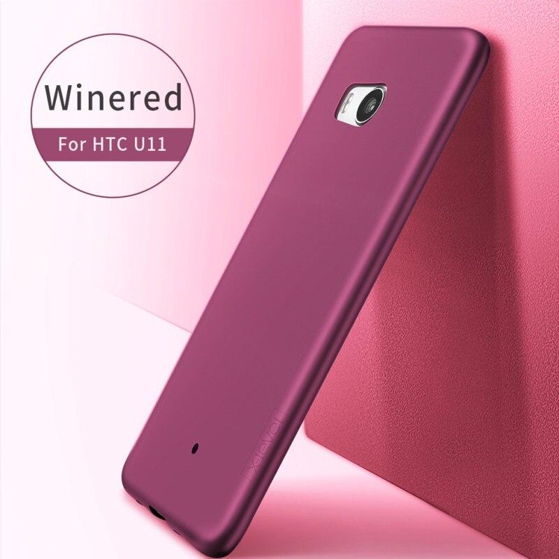 X-LEVEL Phone Case for HTC U11 Cases Guardian Series Matte Skin TPU Back Phone Back Cover for HTC U11 Capa Coque funda- Wine Red