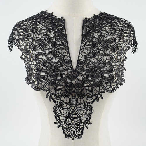 Black Flower Leaf Embroidery Collar Venise Lace Flowers Neckline Collar Applique Trim and Lace fabric sewing supplies