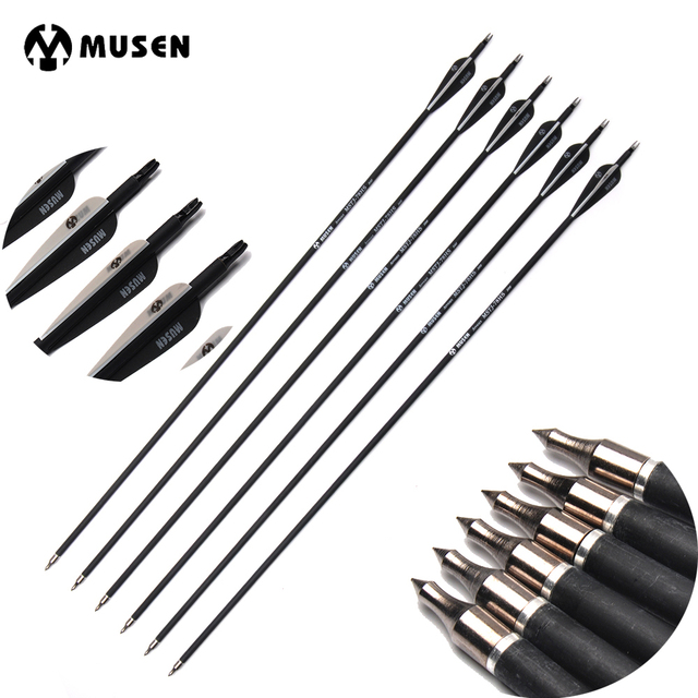 Inches Arrows Spine 500 Carbon Arrow Diameter 7.8 mm for Recurve/Compound Bows Archery Hunting Shooting