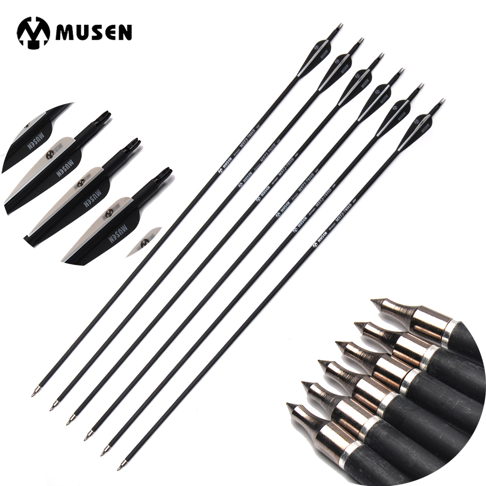 28/30 Inches Spine 500 Carbon Arrows Diameter 7.8mm for Recurve/Compound Bows Archery Hunting Shooting