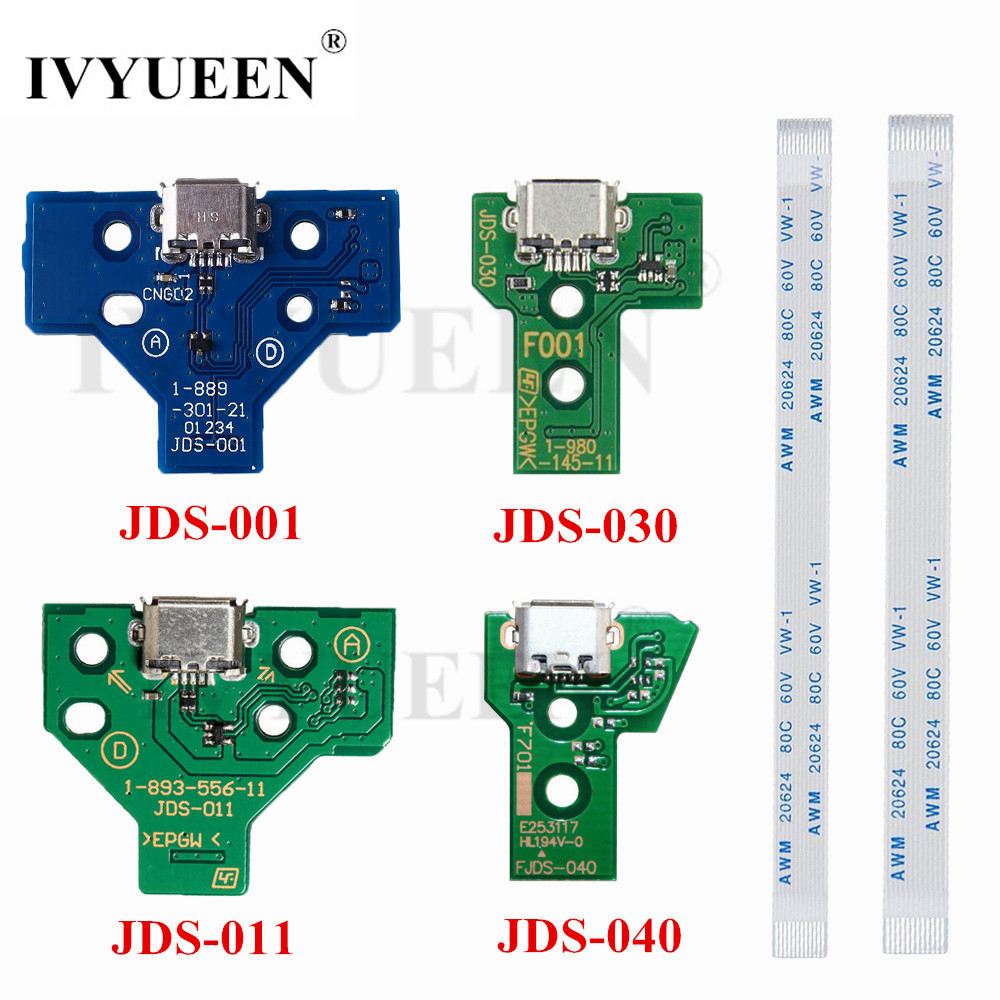 IVYUEEN For Dualshock 4 PS4 Pro Slim Controller Charging Socket Port Circuit Board JDS 030 040 With 12 14 Pin Power Flex Cable