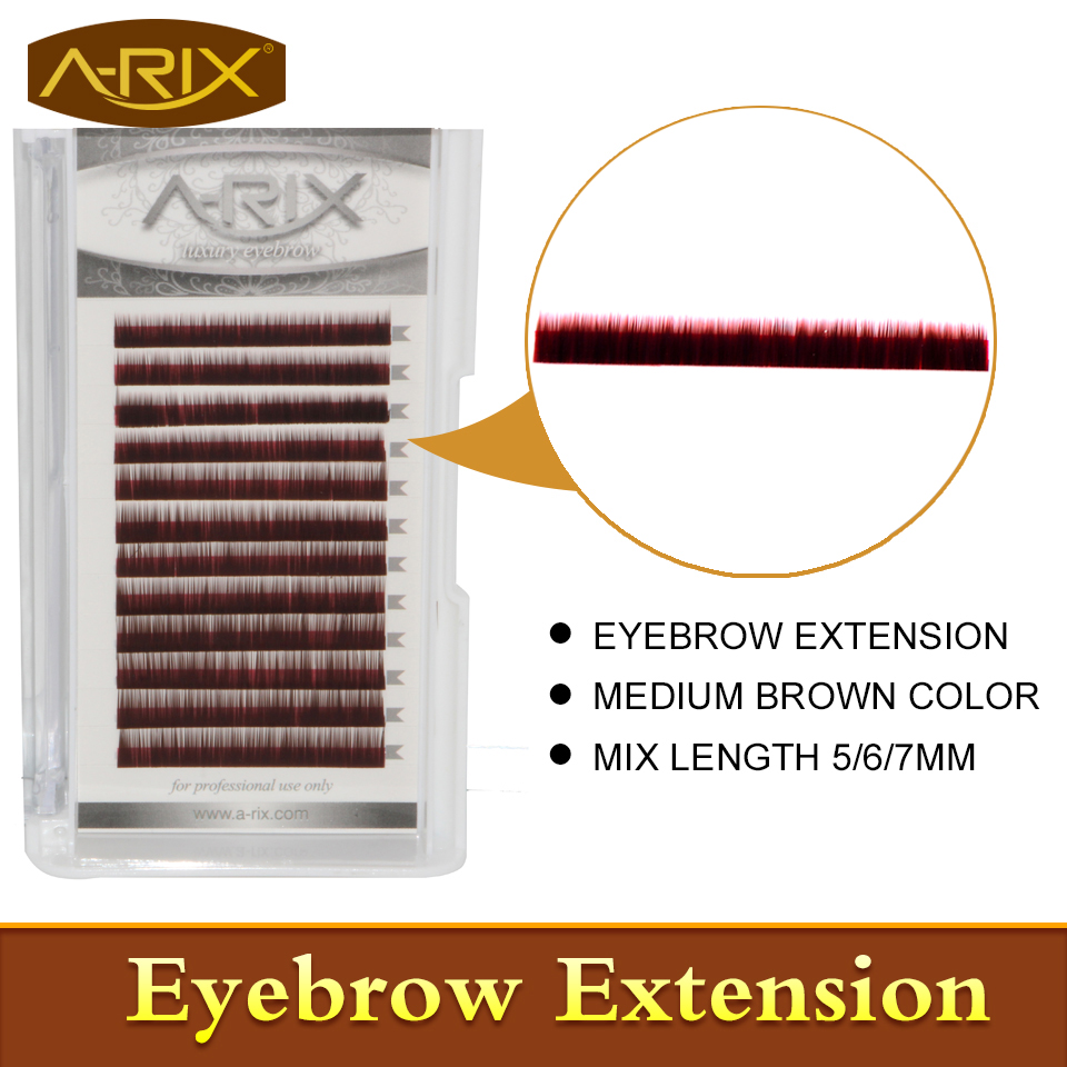 New Arrival Eyebrow Extension 1pcs/lot Faux Mink Hair Professional Makeup Tools Mix Length 5/6/7mm 0.10/0.15 Medium Brown Color