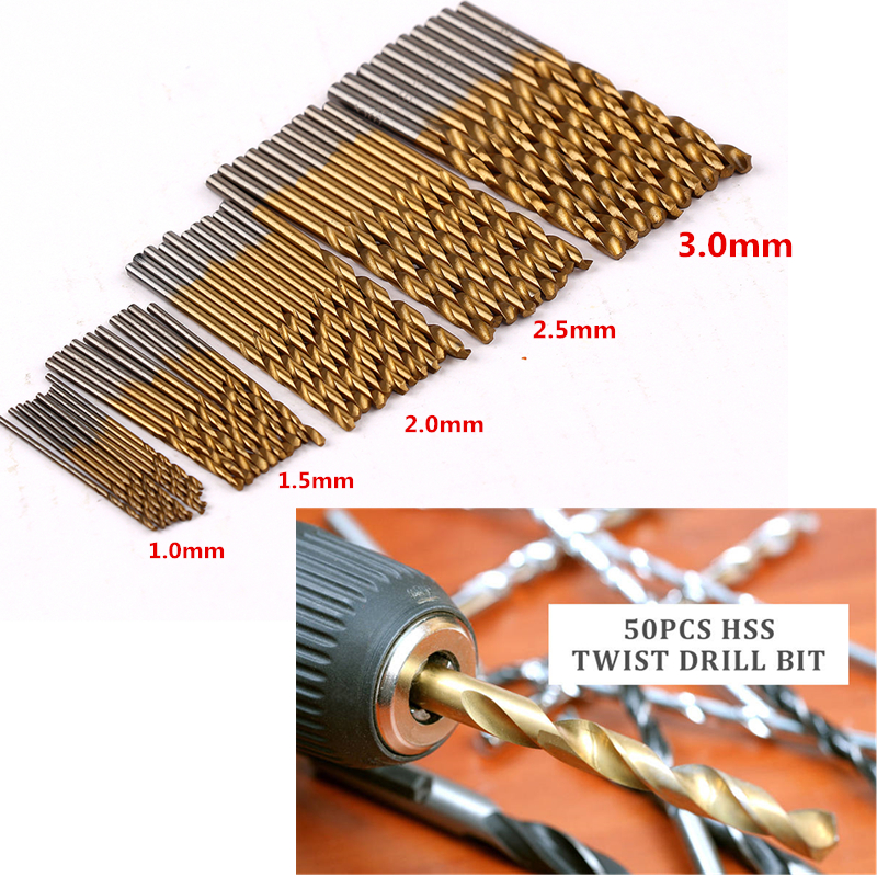 50Pcs Titanium Coated HSS High Speed Steel Twist Drill Bit Set Tool 1/1.5/2/2.5/3mm Wood Drilling Metalworking Power Tools new 10pcs jobbers mini micro hss twist drill bits 0 5 3mm for wood pcb presses drilling dremel rotary tools
