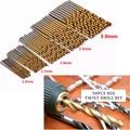 50Pcs Titanium Coated HSS High Speed Steel Twist Drill Bit Set Tool 1/1.5/2/2.5/3mm Wood Drilling Metalworking Power Tools