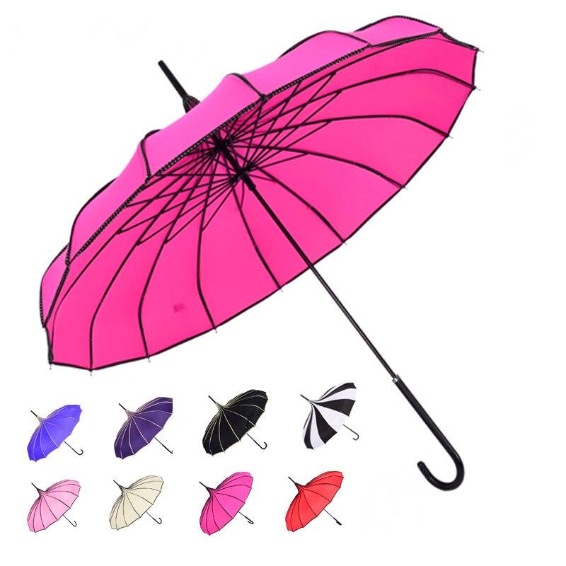 Ombrello pioggia Donne di Modo 16 Ribs Pagoda Ombrellone Principessa-manico Lungo Ombrello Antivento Ombrello di Sole e Pioggia
