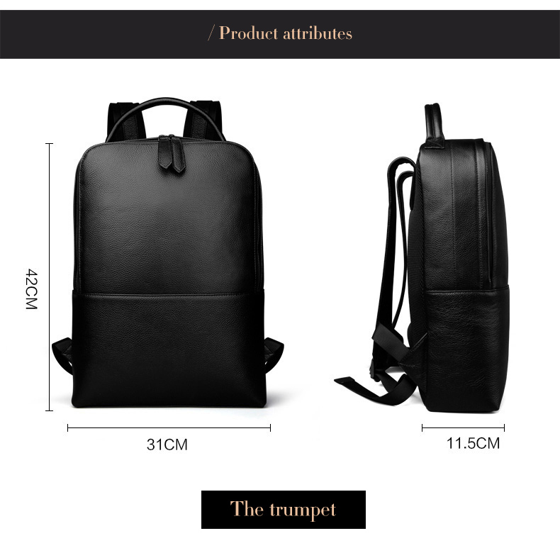 Yaodeniso Genuine Leather New Fashion Men Luxury Male Bag High Quality Waterproof Laptop Messenger Travel Backpack School Bag