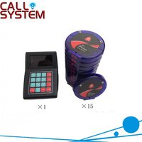 Restaurant wireless customer queue pager system 1 transmitter with 15 blue coaster pagers