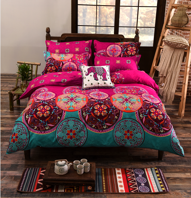 USA Europe Russian Size Bedding Sets King Size Bohemian Duvet Cover Set <font><b>Bed</b></font> Linens Quilt cover Sheet Set Bedding Bedclothes